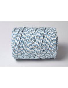 Baker twine de algodón blanco y azul claro