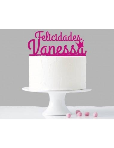 Topper cake felicidades niña personalizado