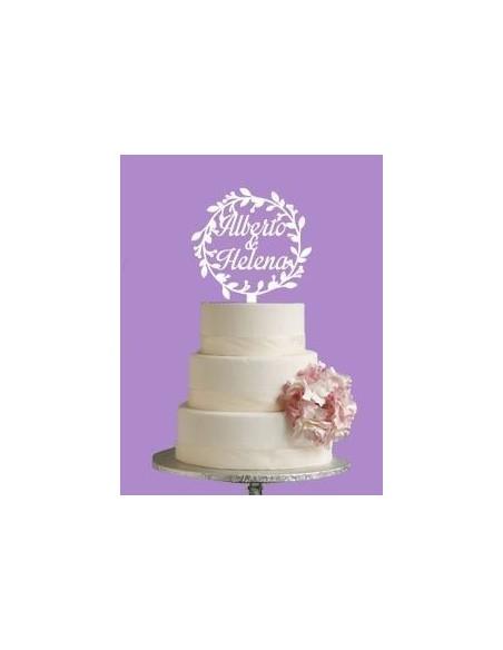 Topper cake redondo floral personalizado