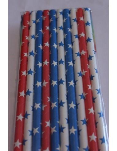 Pack 10 pajitas de papel variadas estrellas