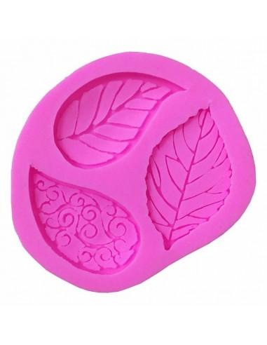 Molde de silicona hojas