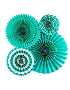 Abanicos de papel turquesa