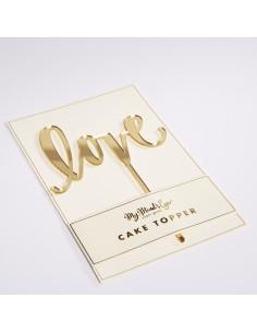 Topper love espejo oro