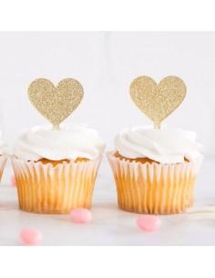 Toppers corazones dorados