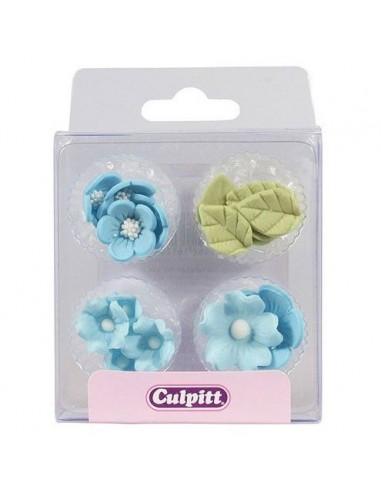Figuritas azúcar flores azules