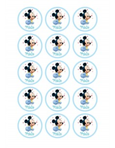 Papel azúcar Mickey bautizo niña personalizado
