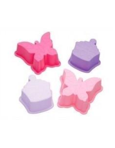 Set 4 moldes silicona cupcakes y mariposas