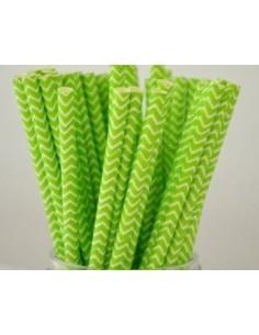 Pajitas de papel verde zig zag