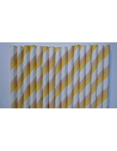 Pack 25 pajitas de papel rayas blancas amarillas y camel