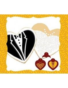 2 stencil corazon traje novios + cortador corazon