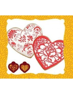 2 stencil forma corazon + cortador corazon