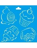 Stencil cupcakes