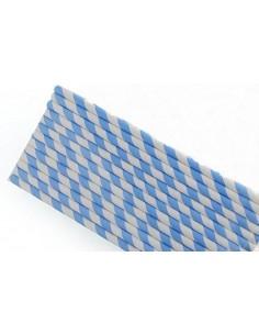 Pack 25 pajitas de papel blancas con rayas azul cielo