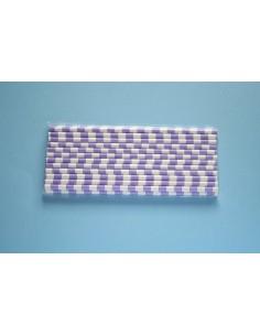 Pack 25 pajitas de papel blancas con rayas horizontales lilas