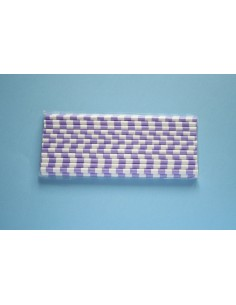 Pajitas de papel con rayas horizontales lilas