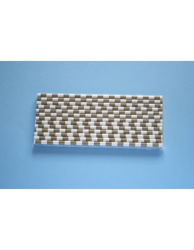 Pack 25 pajitas de papel blancas con rayas horizontales doradas