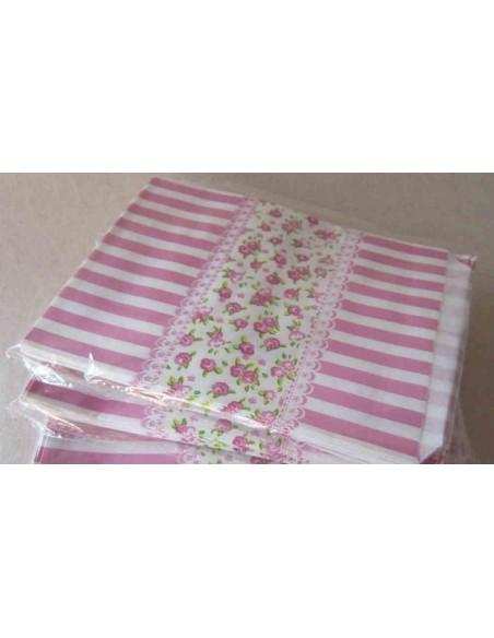 Pack de 25 bolsas de papel con rayas y flores tono rosa