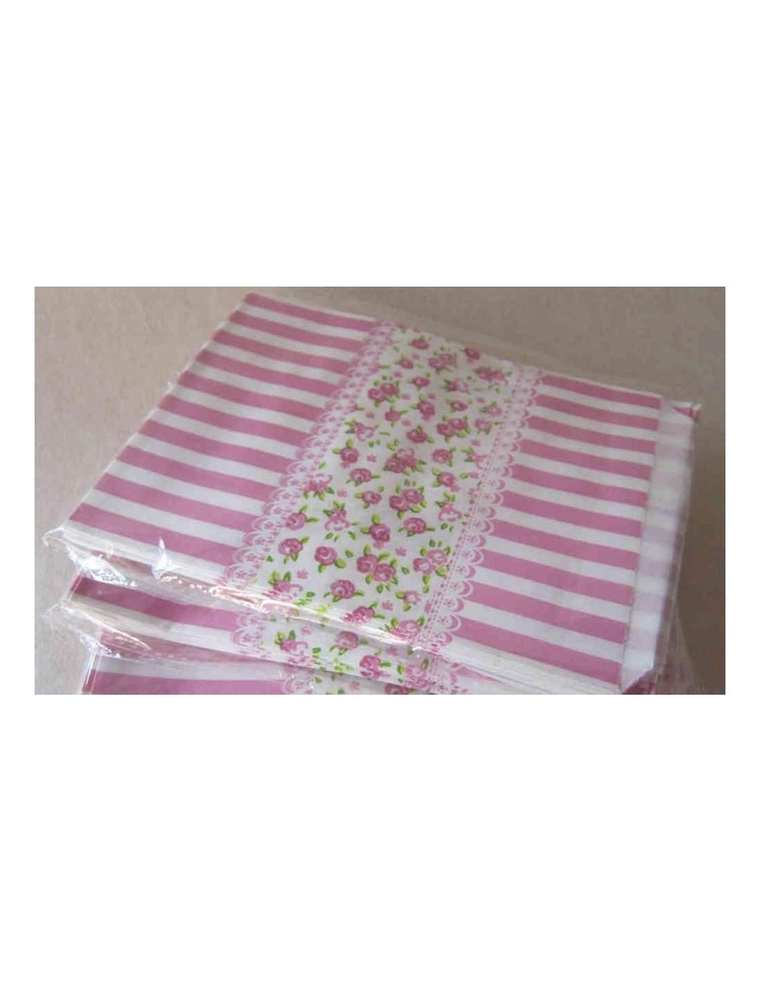 Bolsas de papel con rayas y flores tono rosa - Papel con rayas ...