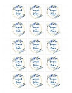 Papel de azúcar boda azul floral