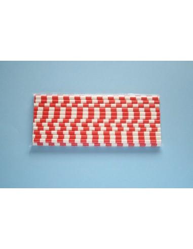 Pack 25 pajitas de papel blancas con rayas rojas horizontales