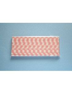 Pajitas de papel con rayas horizontales rosa