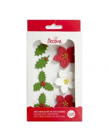 Figuras de azúcar flores navideñas