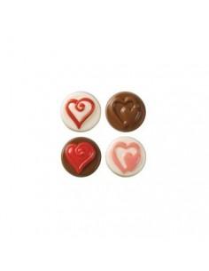 Molde galletas cubiertas chocolate corazones