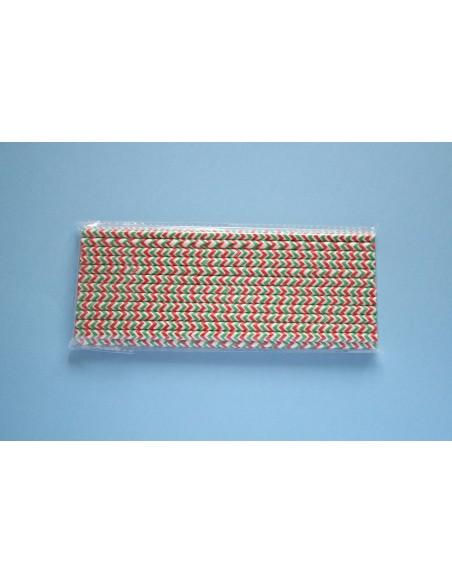 Pack de 25 pajitas de color blanca con con zig zag verde y rojo