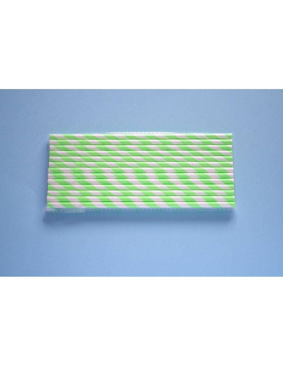 Pajitas de papel con rayas verdes fluor for Papel con rayas