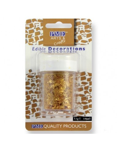 Purpurina comestible en virutas oro