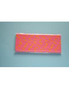 Pack 25 pajitas de papel rosa con girasoles amarillos