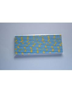 Pajitas de papel azul con girasoles amarillos