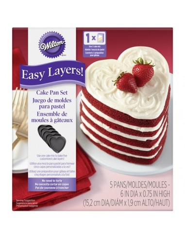 Set 5 moldes layer cake corazón Wilton