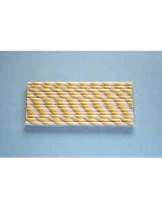 Pack 25 pajitas de papel blancas con rayas amarillas y grises