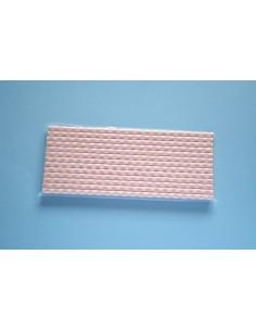 Pack 25 pajitas de papel blancas con cuadros rosas