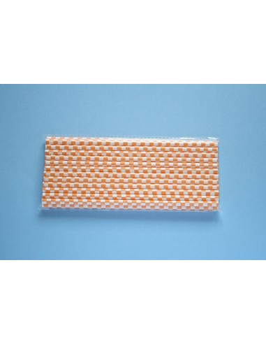 Pack 25 pajitas de papel blancas con cuadros naranjas