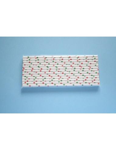 Pack 25 pajitas de papel blancas con estrellas verdes y rojas