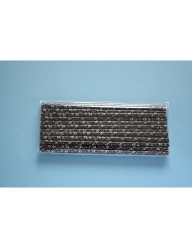 Pack 25 pajitas de papel negro con calaveras blancas