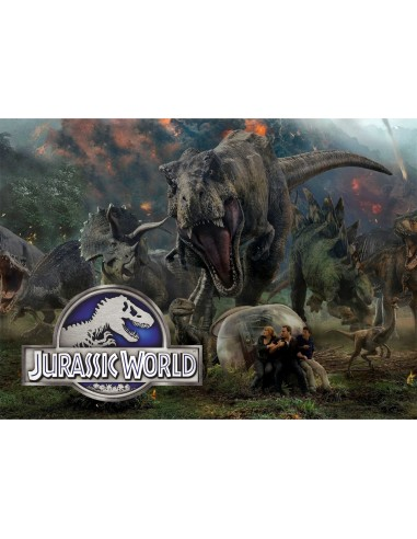 Papel de azúcar Jurassic World rectangular