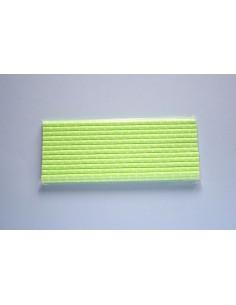 Pack 25 pajitas de papel verde fluor con topitos blancos