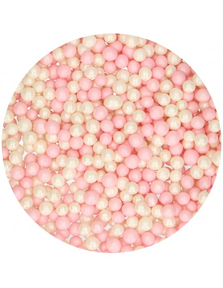 Perlas comestibles rosas y blancas