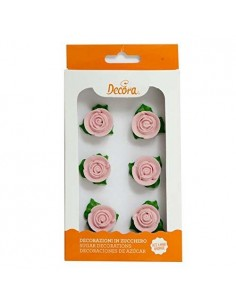 Rosas de azucar rosas con hojas