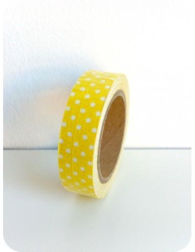 Fabric Tape Amarillo Lunares Blancos