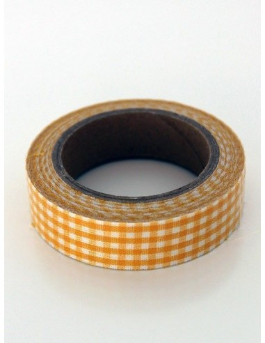 Fabric Tape cuadros naranjas