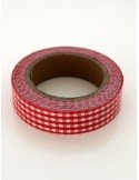 Fabric Tape cuadros granate