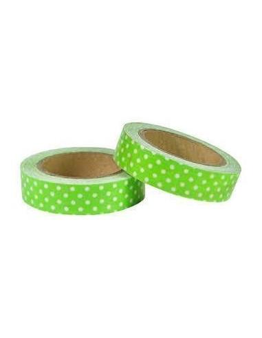 Fabric Tape Verde Lunares Blancos