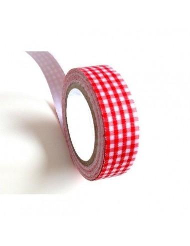 Fabric Tape cuadros rojos