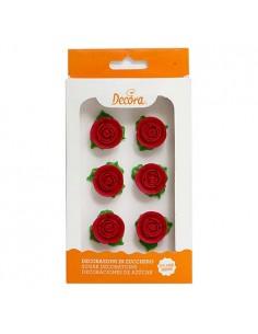 Rosas de azucar rojas con hojas