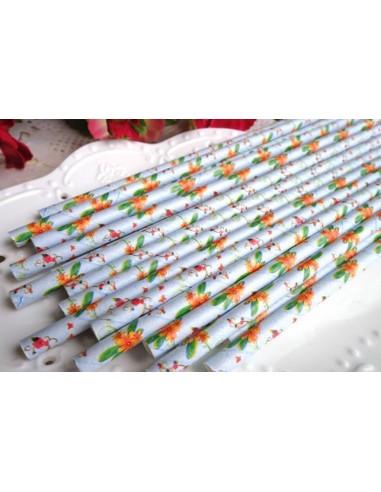 Pack de 25 pajitas de papel de color azul con margaritas naranjas