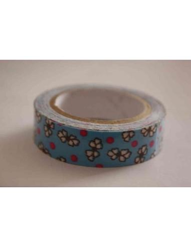 Fabric Tape azul con flores